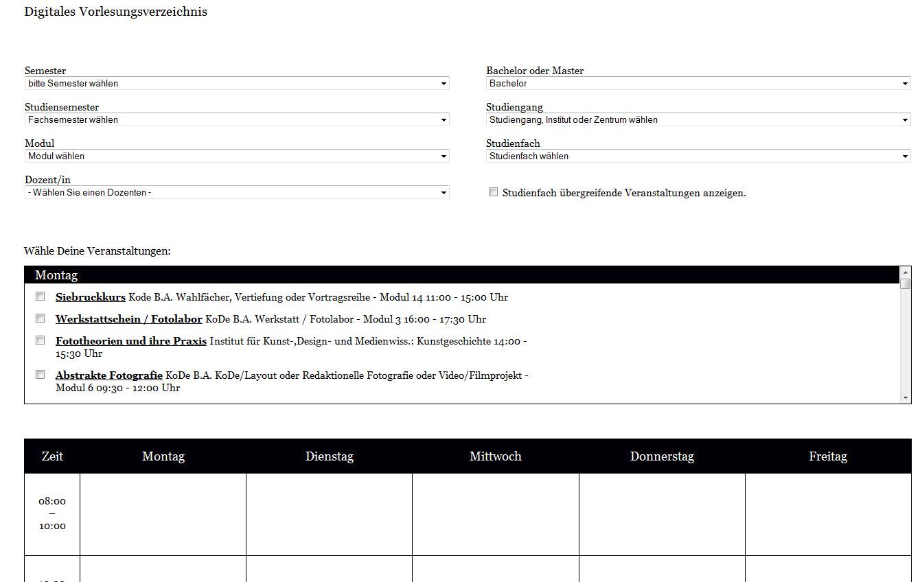 Digitales Vorlesungsverzeichnis