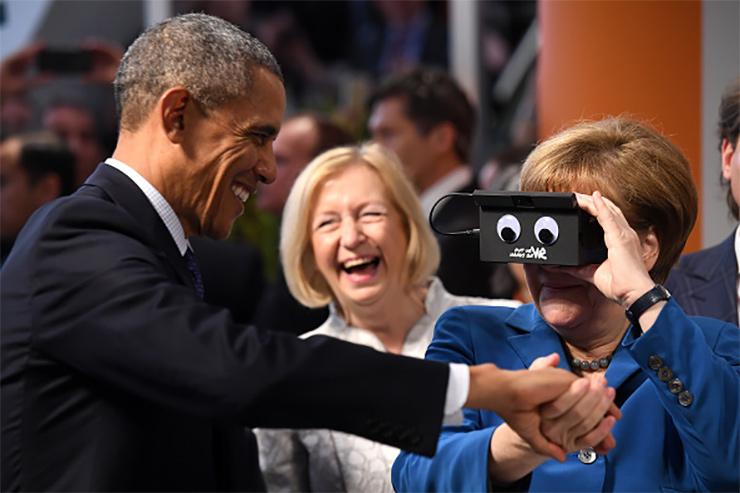 Auf der Hannovermesse haben A. Merkel und B. Obama einen Card-Board-Prototypen einer virtuellen Brille mit Gestensteuerung der Firma Gestigon mit Sitz in Lübeck ausprobiert.