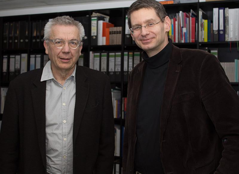 Dr. Arne Zerbst begrüßt den neuen Vorsitzenden des Hochschulrates Prof. Dr. Hannes Böhringer.