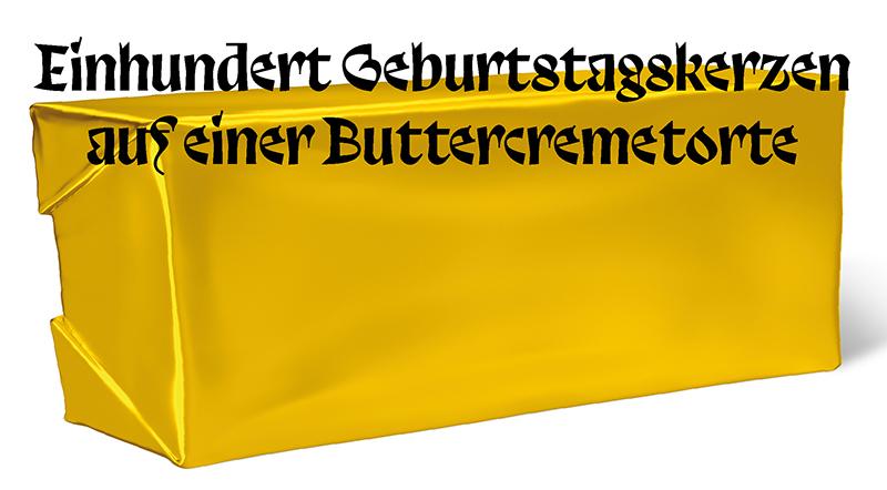 »Einhundert Geburtstagskerzen auf einer Buttercremetorte«